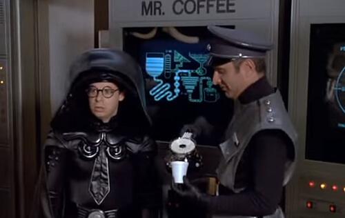 Űrgolyhók, kávé jelenet