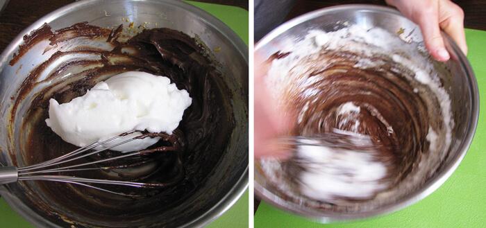 Tojásfehérje hab és csoki mousse alap összekeverése
