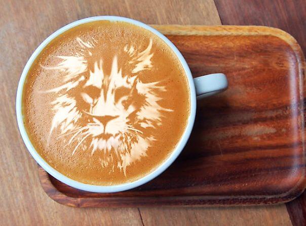 Photoshop latte art oroszlán