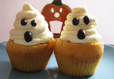 Kávékrémmel töltött sütőtökös muffin, szellem habbal