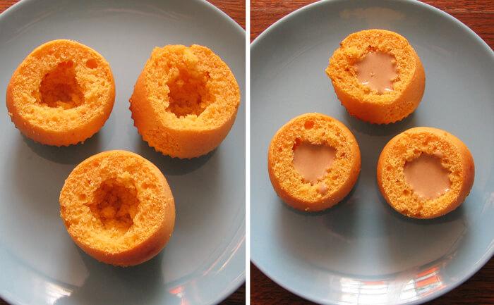 Kávékrémmel megtöltjük a sütőtökös muffint