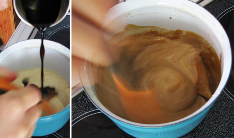 A puding kávéval való bekeverése