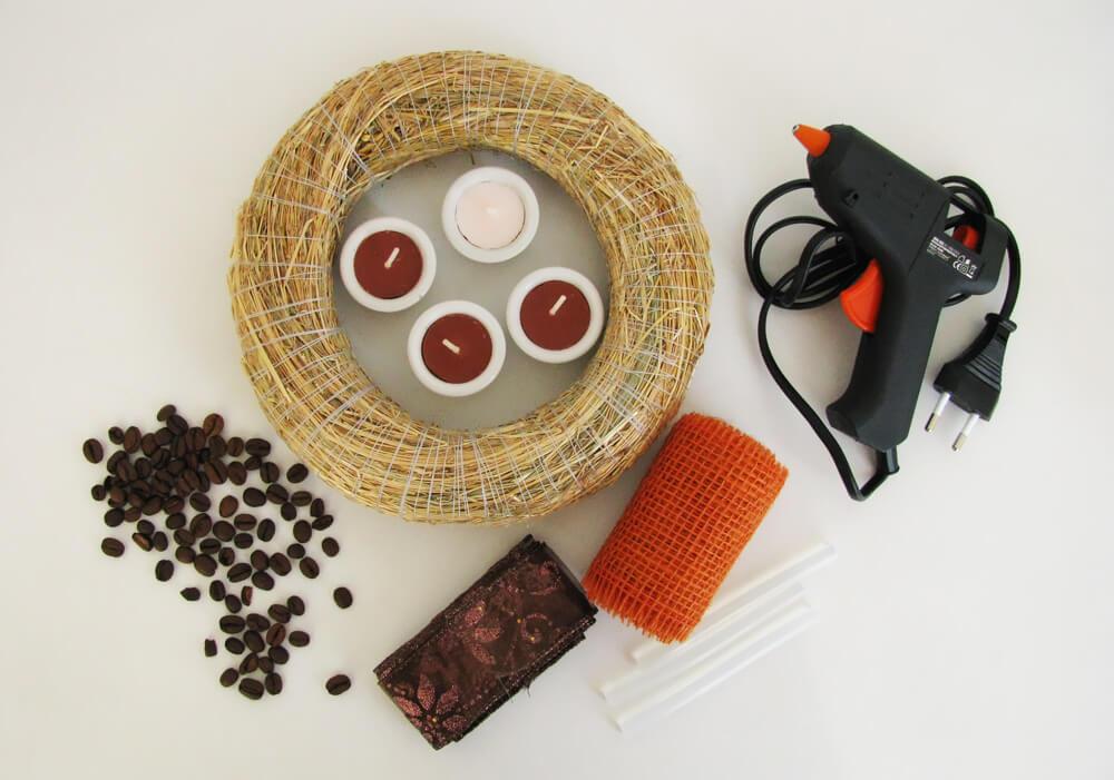 Minimalista kávés adventi koszorú alapanyagok